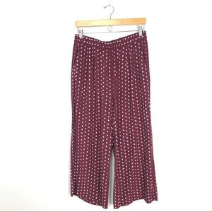 & Other Stories Wide Leg Culottes Burgundy Pant B5